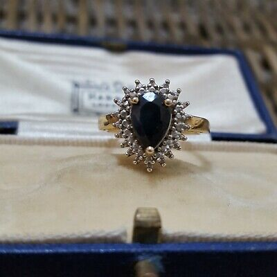 $ CDN68.38 • Buy Ross Simons Qvc Sterling Silver Halo Ring, Sapphire, Gold Plated, Size N 1/2