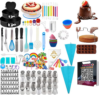 £45.64 • Buy 443 PCS Cake Decorating Supplies Kit With Cake Turntable And 48 Numbered Piping