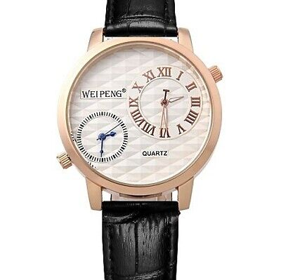 £12.99 • Buy Gents Large Ivory Dual Time Face Brown (Or Black) Genuine Leather Strap Watch