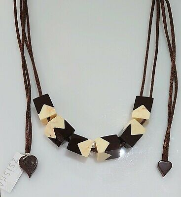 AU44.98 • Buy Zsiska Cube Chocolate And Cream Square Bead Necklace