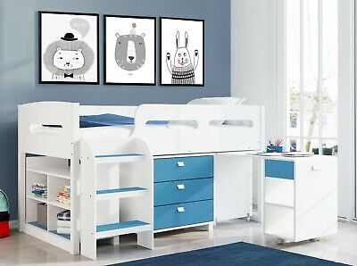 £349.99 • Buy Kids Cabin Bunk Bed Single Mid Sleeper Storage Cabinet & Desk Wooden Bunk Set