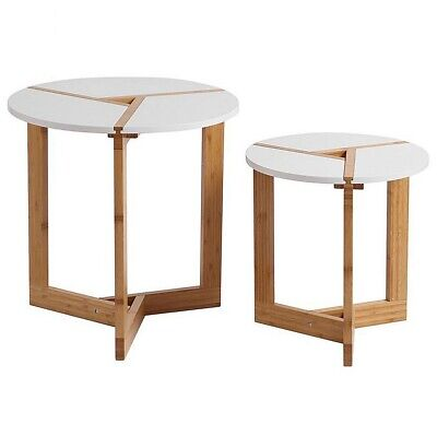AU91.95 • Buy 2 X Side Tables Living Room Decor Home Office White Tray Coffee Nesting Modern