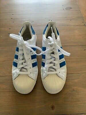 AU16.90 • Buy Adidas Superstar Trainers, Size 6, White And Blue, Excellent Condition
