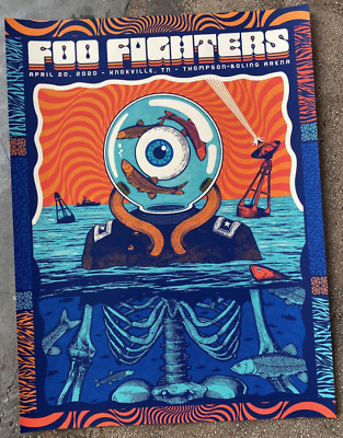 $109.99 • Buy FOO FIGHTERS 4/20 2020 Knoxville Concert Poster Print 18x24 Artist Signed X/40