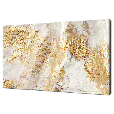 £89.99 • Buy Modern Abstract White And Gold Brush Painting Canvas Print Wall Art Picture
