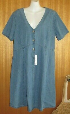 AU12.99 • Buy **ASOS DENIM MATERNITY**DRESS Sz16 Short Sleeves BLUE Button Up STILL WITH TAGS