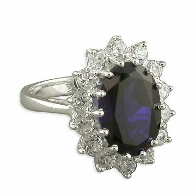 AU117.31 • Buy Sterling Silver Ring Synthetic Sapphire/White Cubic Zirconia Large Oval Cluster