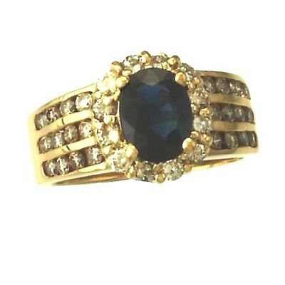 AU1376.02 • Buy Spectacular 14k Gold Blue Sapphire And Diamond Statement Ring Size 6