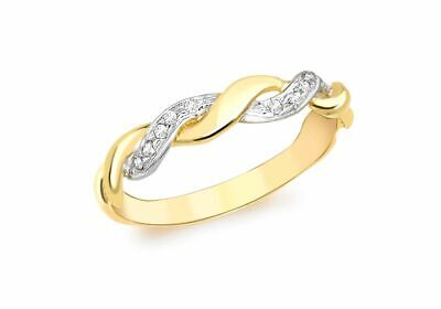 AU415.02 • Buy 9ct Yellow Gold Diamond Woven Twist Ring