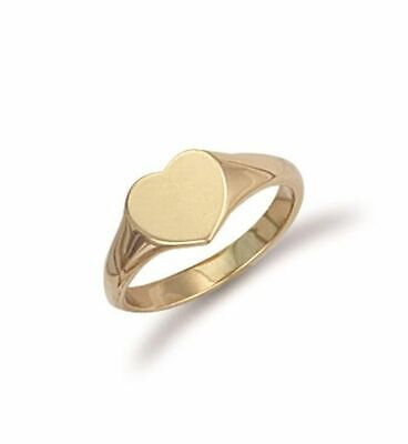 AU410.89 • Buy 9ct Yellow Gold Heart Shaped Maiden Signet Ring 8mm