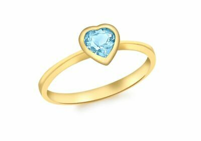 AU378.56 • Buy 9ct Yellow Gold Blue Topaz Heart Ring