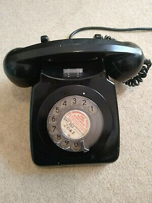 Vintage GPO Type 746 Dial Telephone BT 1973 Black, With Recall Button • 12.50£