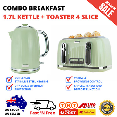 AU132.95 • Buy Breakfast Combo Olive 1.7L Kettle And Toaster 4 Slice Euro Style Set