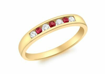 AU401.18 • Buy 9ct Yellow Gold Red And White Clear Stone Channel Set Half Eternity Ring