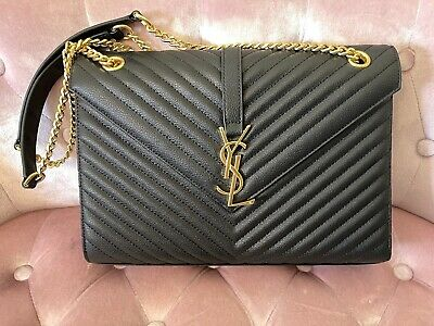 AU899 • Buy Authentic Yves Saint Laurent YSL Black Matelasse Quilted Nappa Leather Bag
