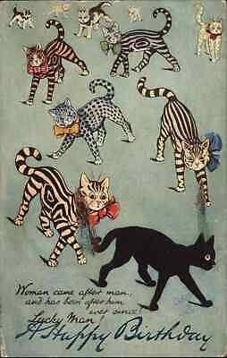 £50.70 • Buy Louis Wain Cats TUCK Stripes To The Front BIRTHDAY OVERPRINT Postcard