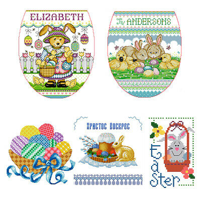14CT Stamp Cross Stitch Kit DIY Cartoon Easter Ecological Cotton Needlework • 3£