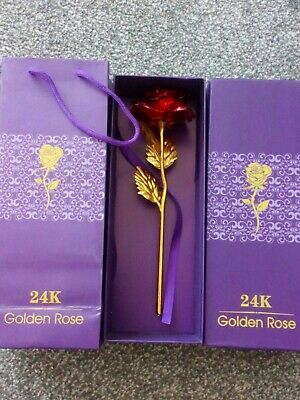 AU17.79 • Buy 24K Gold Plated Rose Anniversary Valentine's DayGirlfriends Gift Mothers Day UK