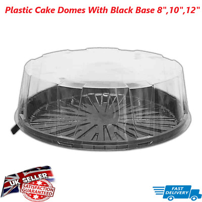 £10.99 • Buy Plastic Disposable Clear Box Round Dome Black Base Cake Domes/8 ,10  And 12Inch