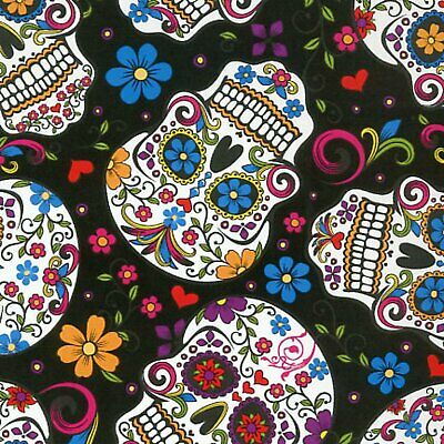 £7.77 • Buy Skulls Mexican Folkloric Black - Cotton - From 0.5 Metre