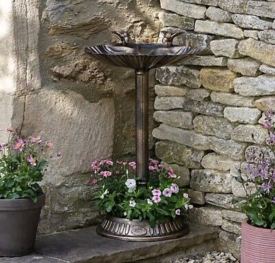 £26.99 • Buy Premium Traditional Large Bird Bath With Built In Planter Bronze Effect Decor