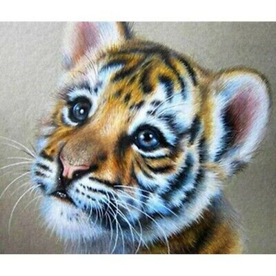 AU16.38 • Buy 5D Full Drill Diamond Painting Tiger Baby Embroidery Cross Stitch Kits DIY Decor