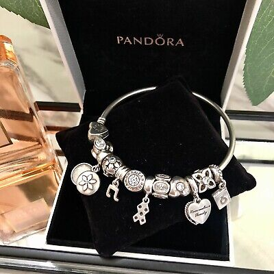 AU550 • Buy Authentic Pre-loved Pandora Bangle Bracelet With 11 Charms In Original Gift Box.
