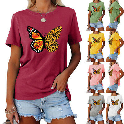 Womens Butterfly Print Short Sleeve T-Shirt Summer Round Neck Casual Blouse Tops • 6.69£