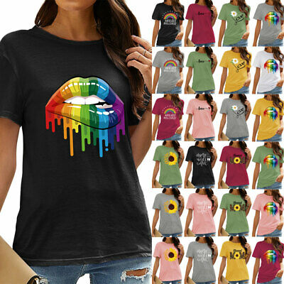 Womens Print Short Sleeve Round Neck T-shirt Ladies Summer Casual Blouse Top Tee • 6.69£