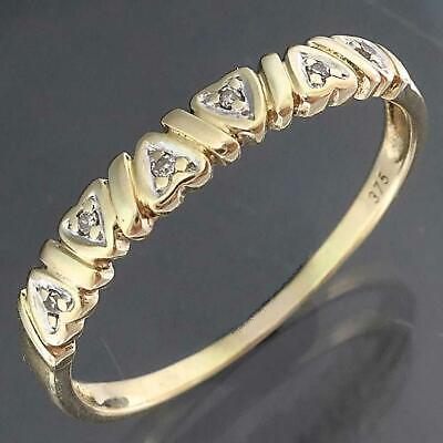 AU135 • Buy Low Narrow 6 DIAMOND Set HEARTS In A 9k Solid Yellow GOLD ETERNITY RING Sz Q