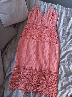 BNWT River Island Lace Coral/peach Fitted Dress Size 12 • 3.99£