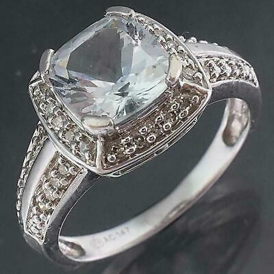 AU345 • Buy Palest Blue Solid 9k WHITE GOLD AQUAMARINE & 36 Diamond CLUSTER RING Sz M