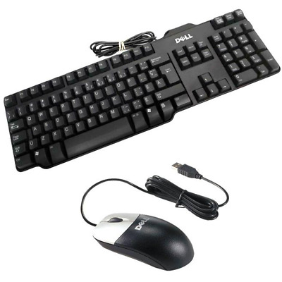 Original Dell KEYBOARD AND MOUSE SET USB WIRED QWERTY UK LAYOUT PC COMPUTER • 7.49£