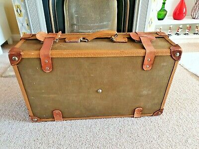 £70 • Buy Lovely Vintage Suitcase Leather Bound Edges,original Dividers & Interior Fitting