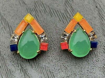 $ CDN31.30 • Buy Kate Spade Stud Earrings Green Multi Color Gold Plated