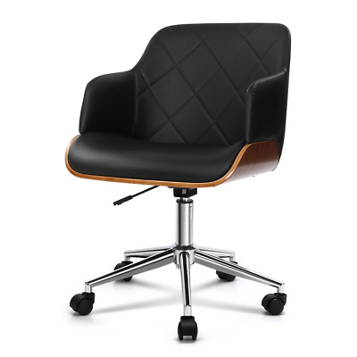 AU148.75 • Buy Artiss Wooden Office Chair Computer PU Leather Desk Chairs Executive Black Wood