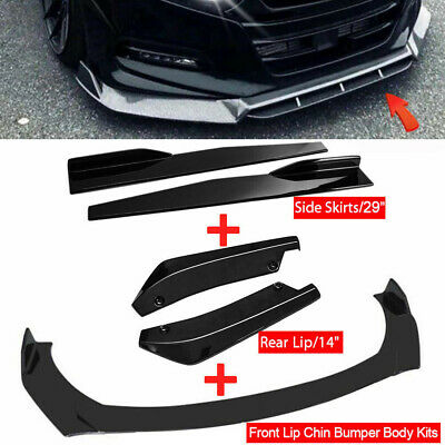 $73.99 • Buy Gloss Black Side Skirt +Rear Lip+Front Bumper Lip Spoiler For Honda Civic Accord