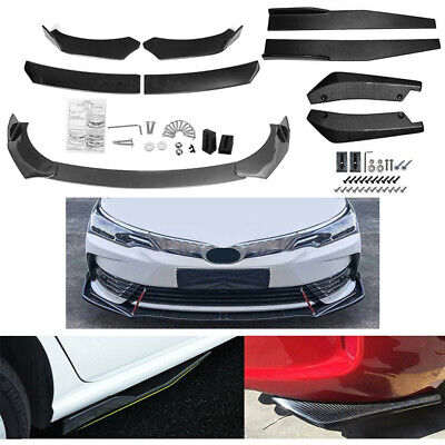 $79.99 • Buy Carbon Fiber Look Side Skirt + Rear Lip +Front Bumper Spoiler Body Kit Universal