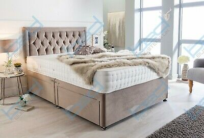 £339.99 • Buy Divan Velvet Bed With Memory Foam Mattress Headboard Double King Small Single