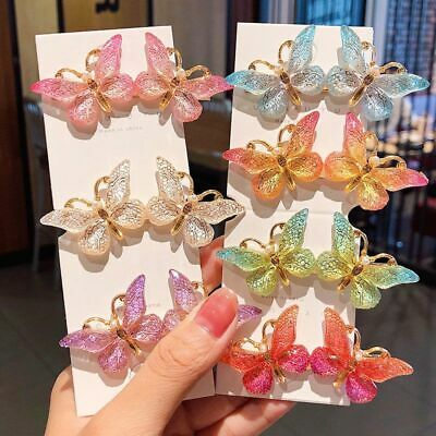 Women Girls Cute Butterfly Hairpins Barrettes Hair Clips Hair Accessories • 2.99£