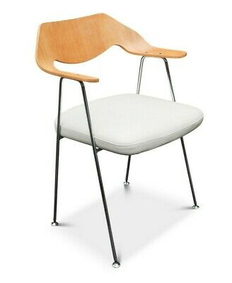 £630 • Buy Robin Day 675 Chair Bent Oak Plywood Backrest With Chrome Frame & White Leather
