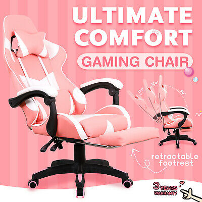 AU139.90 • Buy Gaming Computer Chair Executive Office Racer Recliner Seating W/Footrest Pink