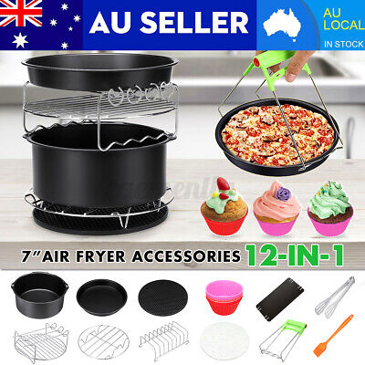 AU23.99 • Buy 114PCS 7 Inch Air Fryer Accessories Rack Cake Pizza Barbecue Frying Pan Tray