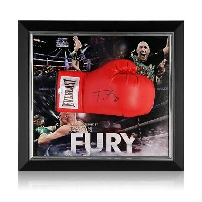 AU894 • Buy Tyson Fury Signed Red Boxing Glove Framed
