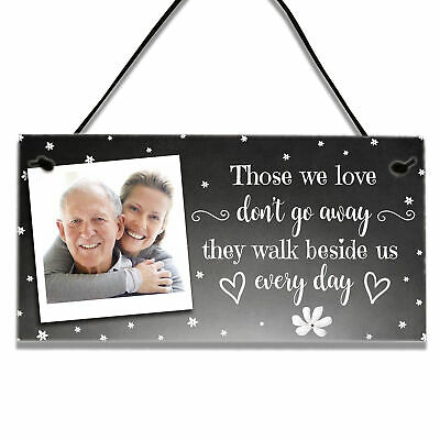 £3.99 • Buy Personalised Photo Memorial Bereavement Gifts Loss Love In Heaven Plaque Sign