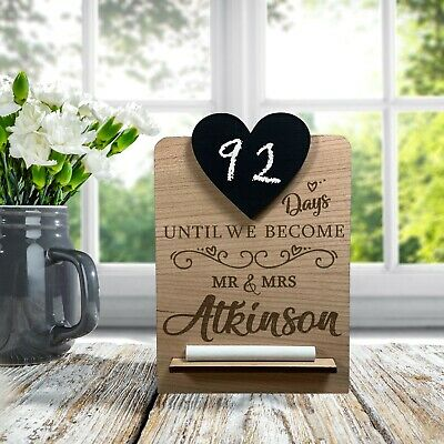 £6.95 • Buy Personalised Wedding Countdown Chalk Plaque Sign, Engagement Gift For Mr & Mrs