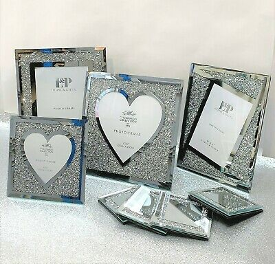 £9.99 • Buy Crushed Diamond Mirrored Picture Frames Coaster Silver Heart Photo Frame Display