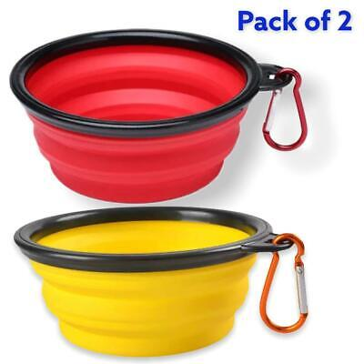 £3.99 • Buy 2pk Collapsible Dog  Bowl Food Water Feeding Bowls Portable Collapsible Silicone
