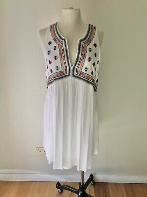 AU35 • Buy Tigerlily White Boho Bohemian Sleeveless Dress W Colourful Aztec Embroidery 14