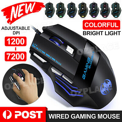 AU14.45 • Buy LED Wired Game Gaming Mouse USB Ergonomic Optical For PC Laptop Computer 7200DPI